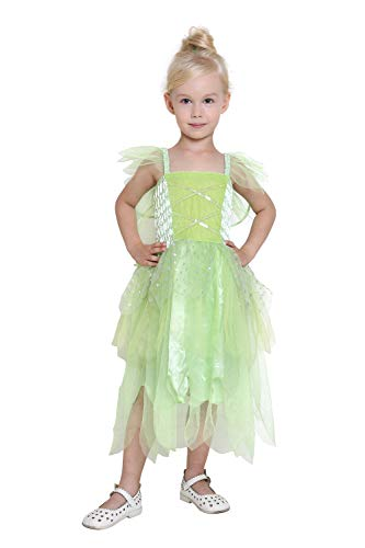 Girls Princess Tinkerbell Long Dress Halloween Cosplay Costume