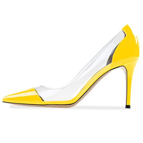 YODEKS Women's Yellow Pumps Transparent High Heel Dress Shoes 80mm Heel Plexi Pumps US9.5