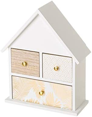 Caja joyero con 3 cajones de Madera Blanca exótica, de 23x10x29 cm ...