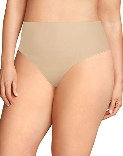 Flexees Women's Plus Size Maidenform Tame Your Tummy Tailored Thong, Transparent X Large ()