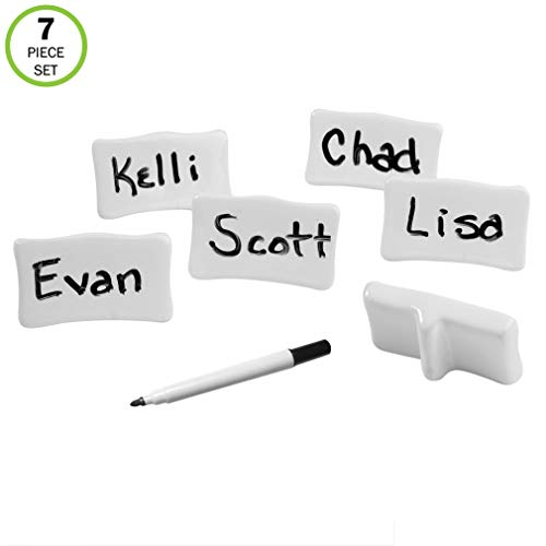 (Evelots Place/Name Cards-Porcelain-Reusable-with Marker-Easel Back-7 Piece Set)