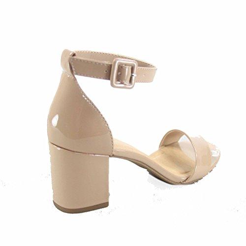 Città Classificata Torta-s Moda Donna Open Toe Cinturino Con Fibbia Alla Caviglia Bassi Sandali Tacco Grosso Scarpe Beige Brevetto