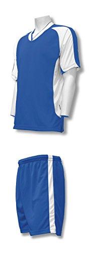 Sweeper soccer uniform set for youth or adult soccer teams - size Adult L - color royal/white