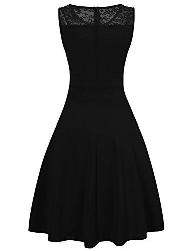 Women Vintage Sleeveless Cocktail Evening Dress Summer Lace Dresses Black 2XL