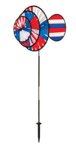 In the Breeze 2765 Patriotic Triple Wheel Spinner with Wind Sail, Small, Red, White & -