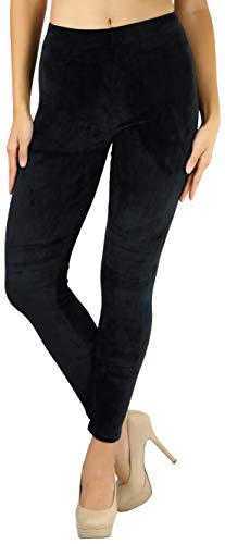 (ToBeInStyle Women's Luxuriant Velour Leggings - Black - Large)