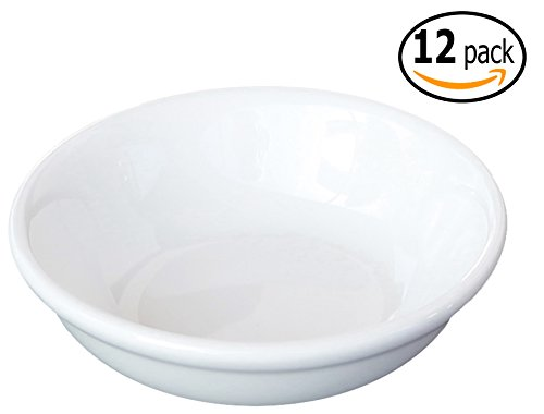 Ceramic Side Sauce Dish and Pan Scraper, 3 Inch, 2 Ounce, Bone White, 12-Pack (China Bone Sauce)