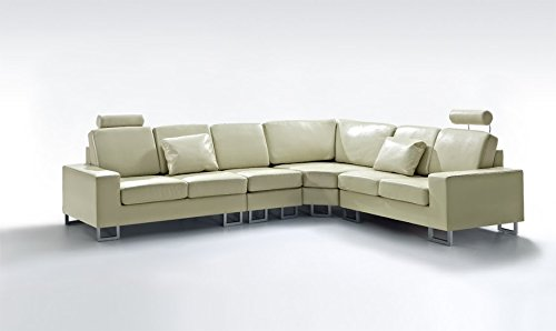 Beliani Stockholm Contemporary Design Sectional Sofa, Cream
