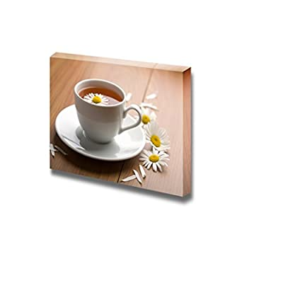 Canvas Prints Wall Art - Cup of Tea with Daisies | Modern Wall Decor/Home Decoration Stretched Gallery Canvas Wrap Giclee Print. Ready to Hang - 12