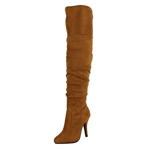On Stylish Sexy Focus Over 33 Women's Boots Forever Tan High Pull Knee Link Fashion 36 Suede SR48nFqw