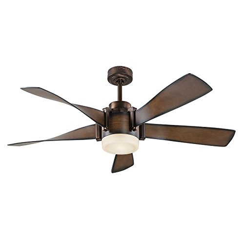 Kichler Lighting 52-in Mediterranean Walnut with Bronze Accents Downrod Mount Indoor Ceiling Fan with LED Light Kit and ()
