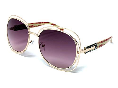 LOOSE LEAF Eyewear Women's Oversized Translucent Frame Sunglasses with American Flag Grunge Print on - Translucent Flags