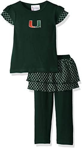 Two Feet Ahead NCAA Miami Hurricanes Girls Toddler Girls Shirt & Legging Settoddler Girls Shirt & Legging Set, Green, 2T