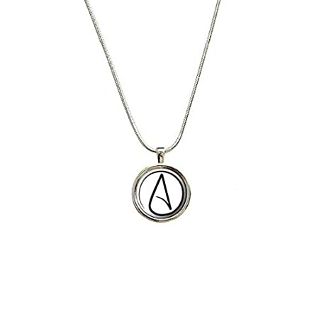 Atheism Atheist Symbol Pendant With Sterling Silver Plated Chain