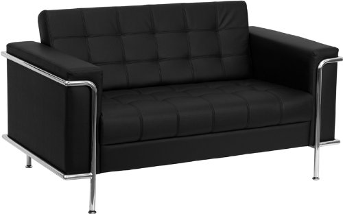 Modern Loveseat Leather Black (Flash Furniture HERCULES Lesley Series Contemporary Black Leather Loveseat with Encasing Frame)