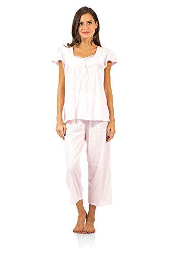 Pink Pyjama Pants - Casual Nights Women's Lace Cap Sleeve Capri Pajama Set - Dot Pink - Large