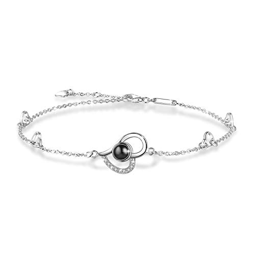 OneSight Women Love Heart Projection Anklet Jewelry, 925 Sterling Silver Memory of Love Ankle Bracelet - 100 Different Languages for i Love u, Large Heart Bracelet
