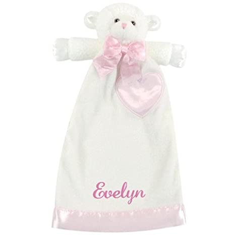 NWT Plush Security Blanket Lovey Pink or Blue Teddy Bear or White Lamb