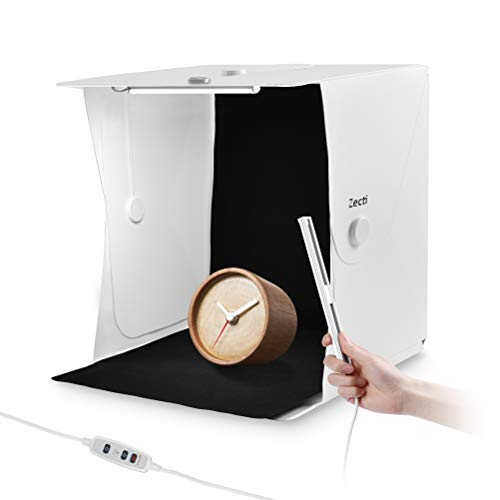 Zecti 16x16 inch/40x40cm Light Box, Portable Table Top Lighting Shooting Tent Kit, Photo Studio Box, Photography Light Tent with 2 Dimmable LED Strip Lights and 4 Backdrops from Zecti
