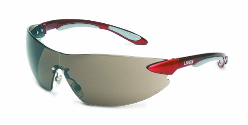 Uvex S4411X Ignite Safety Eyewear, Metallic Red and Silver Frame, Gray Uvextra Anti-Fog Lens