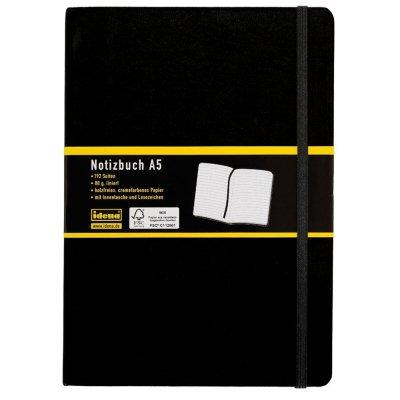 Idena 209112 Notizbuch A5, liniert, mit Innentasche und Lesezeichen, 192 Seiten, schwarz