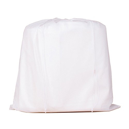 2 Piece Extra Large (19 Inch X 23.6 Inch.) Shoe Bag for Secure Shoe Storage Thick Non-woven Dust Bag Beam Port Drawstring Pouch (White)