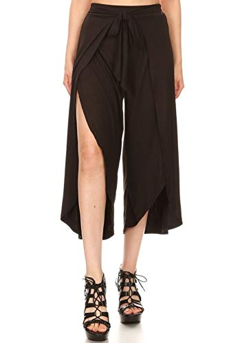 ShoSho Womens Boho Palazzo Wide Leg High Waist Belted Loose Fit Wrap Up Pants Soft Cropped Solid Black Medium