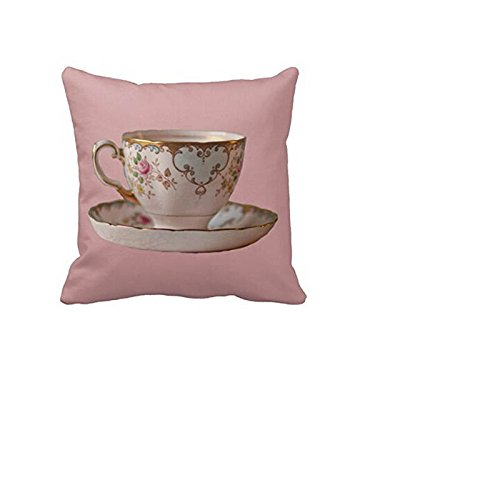 [hello halo Pink Tea Cup And Saucer With Roses Luxury Printing Standard Square Zipper Throw Pillow Cover] (Linen Rose Saucer)
