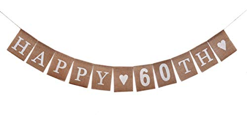 Men and Women 60 Years Old Birthday Decorations Banner |Rustic Happy 60th Burlap Flag | Dad and Mom 60th Anniversary Backdrop | Party Supplies and Favors Gift Ideas| Pre-Strung No -