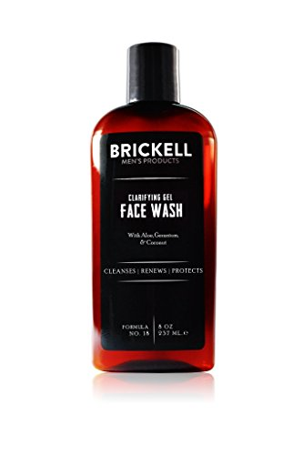 Clarifying Gel Facial Moisturizer - Brickell Men's Clarifying Gel Face Wash for Men, Natural and Organic Rich Foaming Daily Facial Cleanser Formulated With Geranium, Coconut and Aloe, 8 Ounce, Scented
