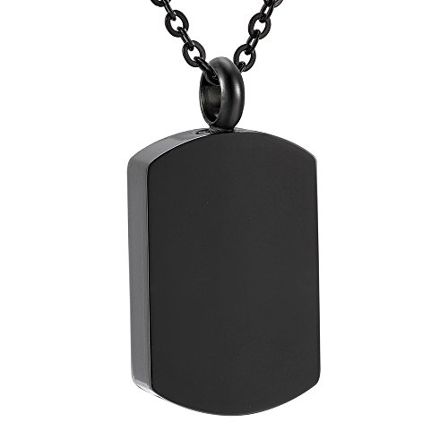 SS9118 Pet Memorial Ash Necklace Dog Tag Engravable Cremation Urn Funeral Necklace (black) by love of life