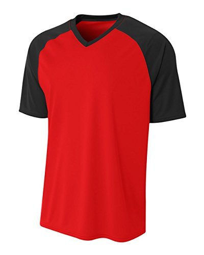 Red/Black Adult Large Color Combo All Season Comfort Sports Jersey (Blank)