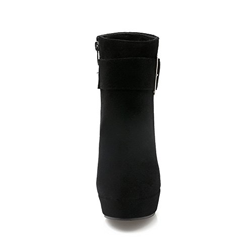 Black Women's Heels Boots Closed Low Solid Allhqfashion High Round Toe Zipper top SdZ1nCwq
