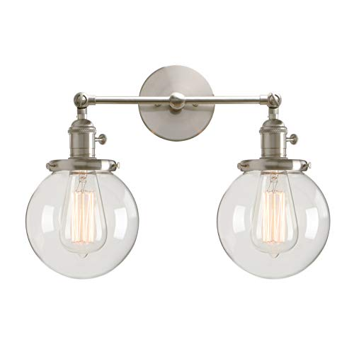 (Permo Double Sconce Vintage Industrial Antique 2-Lights Wall Sconces with Dual Mini 5.9
