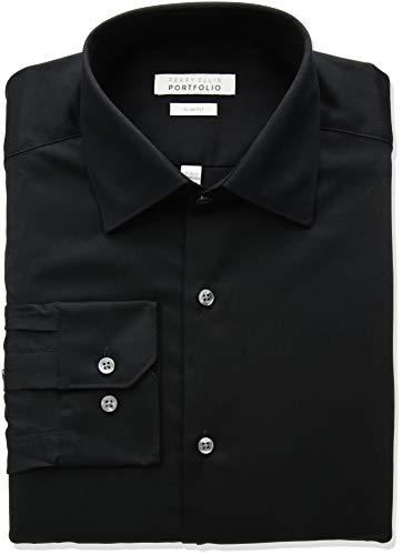 Perry Ellis Men's Slim Fit Wrinkle Free Dress Shirt, Black, 16.5 32/33