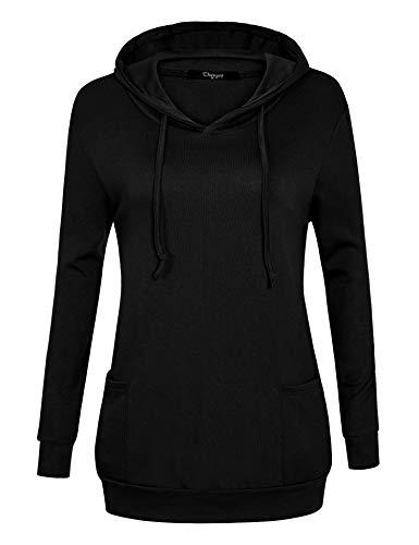 Ckuvysq Basic Thin Long Sleeve Hooded Sweatshirt Women Knitwear Fresh Flattering Tee Shirt Fashion Black Medium