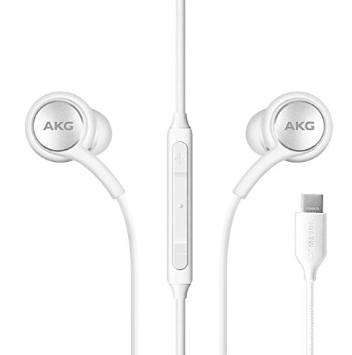 ElloGear 2020 Earbuds Stereo Headphones for Samsung Galaxy Note 10, Note 10+, Galaxy S10, S9 Plus, S10e – Designed by AKG – Braided Cable with Microphone and Volume Remote Type-C Connector – White