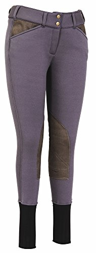 (TuffRider Soft Shell Knee Patch Breeches, Charcoal, 24 LD)