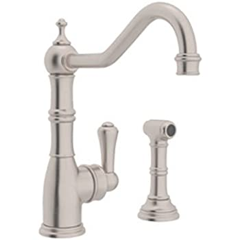 Rohl U 4746stn 2 Perrin And Rowe Single Hole Single Lever Aquitaine Kitchen Faucet With Sidespray Rinse In Satin Nickel