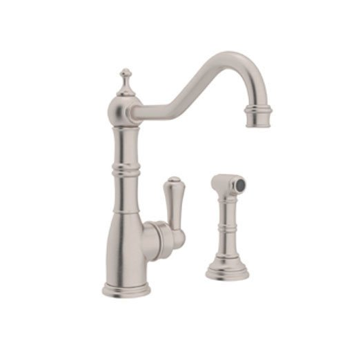 Rohl U.4746STN-2 Perrin and Rowe Single Hole Single Lever Aquitaine Kitchen Faucet with Sidespray Rinse in Satin Nickel (And Perrin Faucet Nickel Rowe)