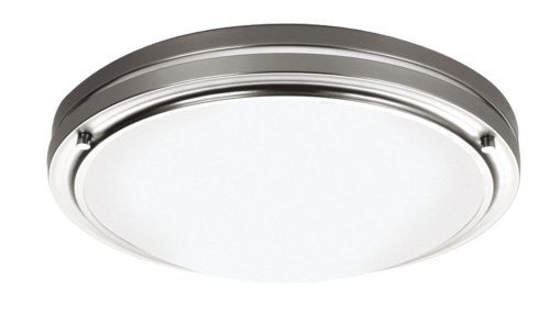 Forecast Cfl (Forecast Lighting F2451-36N1 West End Two-Light Twin Tube CFL Flush Mount with Etched White Glass, Satin Nickel)