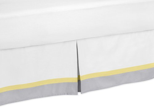 Sweet Jojo Designs Yellow, Gray and White Mod Garden Queen Bed Skirt for Girls Flower and Butterfly Bedding Set