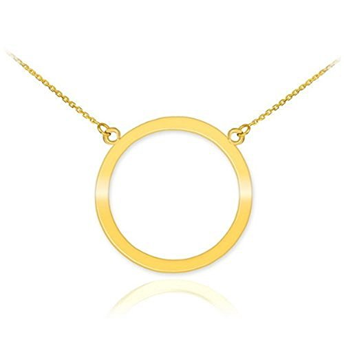 14k Yellow Gold Circle of Life Pendant Karma Necklace, 16