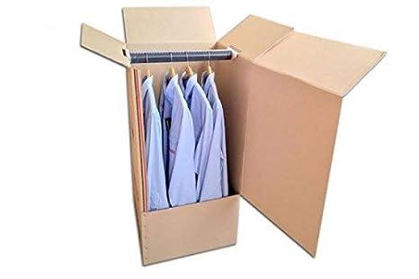 Pack de Cuatro (4) Cajas Armario de Cartón, Color Marrón y Canal Doble