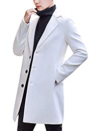 Men's Notched Lapel Single Breasted Long Pea Coat Trench Coat