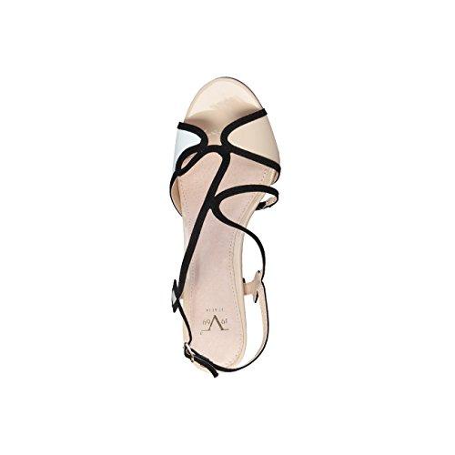 V 1969 - JADE_BIANCO-BEIGE Donna Sandali Della Caviglia Cinghia Tacco 10 cm