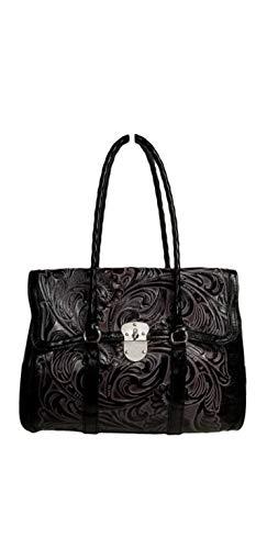 Patricia Nash Tooled Vienna Top-Flap Shoulder Bag, Tuscan Black ()