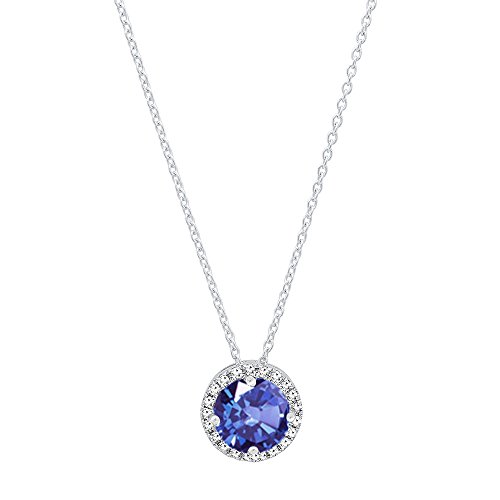 Dazzlingrock Collection 14K 5.5 MM Round Tanzanite & White Diamond Ladies Halo Style Pendant (Chain Included), White Gold