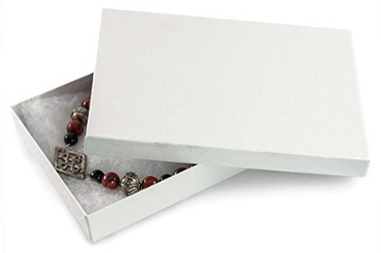 (RJ Displays 25 Pack White Swirl Cotton Filled Jewelry Box Necklace, Belt Buckle, Pendant, Brooch, Bracelet, Bangle, Anklet -Size 5.25