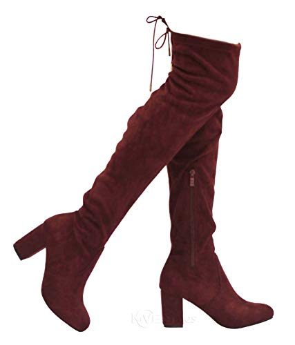 MVE Shoes Women's Thigh High Over The Knee Adjustable Fit - Suede Low Heel Boot, Bonita-02 Burgundy 8.5